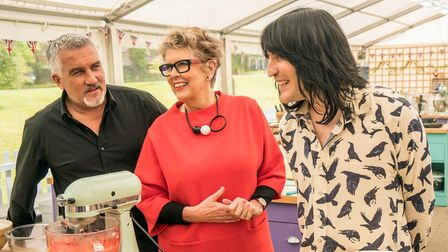 The Great British Bake Off: Paul Hollywood, Noel Fielding, Prue Leith. Picture: CHANNEL 4