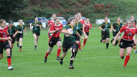 Danni Lee on a storming run for the Bury Foxes. Picture: SHAWN PEARCE