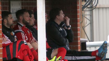 James Webster biting his finger-nails during Brightlingsea's match against Thurrock last season. Pic