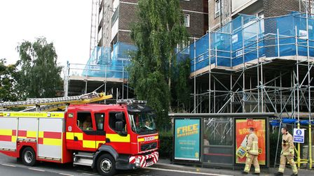 Firefighters have taken part in exercises at high-rise blocks like Cumberland Towers in Ipswich. Pi