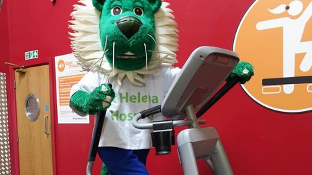 Dandy Lion, the St Helena Hospice mascot, prepares to take on the Around the Clock challenge. Pictur