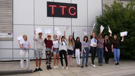 Students of Tendring Technology College celebrate their results earlier this summer. The college has