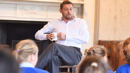 James Campbell speaks to pupils from Moreton Hall Prep School. Picture: GREGG BROWN
