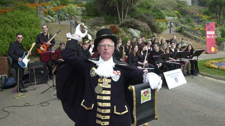 Jimmy starts a 'shout' for the Deben Jazz Band at the Felixstowe Golden Jubilee Festival. Picture: O