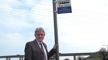 David Wood who is angry about the withdrawal of bus services on the Shotley peninsula. ES 30.3.11