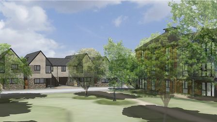 Scene from the central open space - a computer-generated image of how thew new homes off Ferry Road,