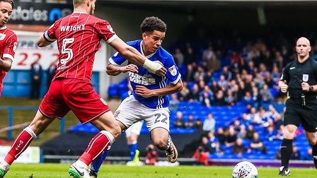 Tristan Nydam and Bailey Wright in action during Ipswich Town's recent defeat to Bristol City. Photo