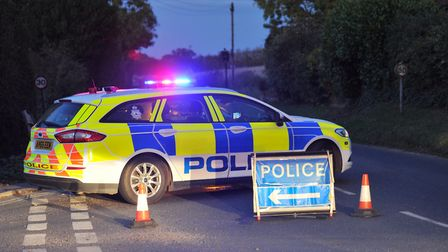 Police have blocked the B1077 after a car collided with a bus in Debenham. Picture: SARAH LUCY BROW