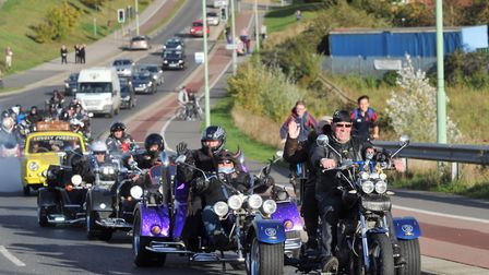 Remembrance bike run in memory of Stowmarket child William Warren who died in a road accident. Pictu