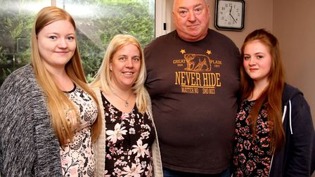 The family of William Warren, sister Kate (L to R), mum Tracey and father Tim with Williams friend J