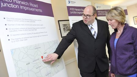 Highways England asset manager Andy Jobling talks with local resident Karen Tarling about the A120 H