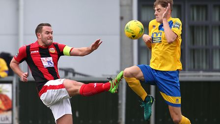 Luke Callander, left, who will be hoping to fire Heybridge Swifts into the first round of the FA Cup
