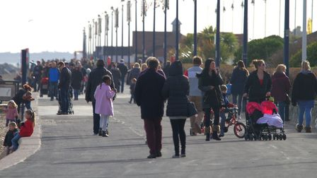 Felixstowe promenade, part of the Suffolk Coastal district rated as good for raising families. Pictu