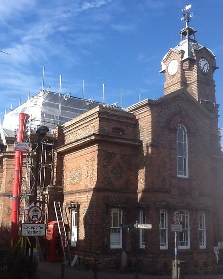 Eye Town Hall, which is undergoing repairs and is on Historic England's at risk register. Picture: C