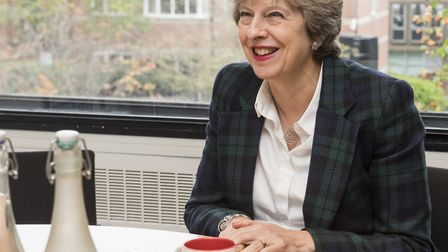Prime minister Theresa May visits the Eastern Daily Press and Evening News office. Picture: NICK BUT