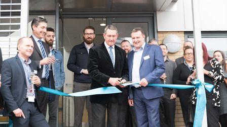Graham Gooch and Jeff Dewing officially open Cloudfm's industry-first Academy. Picture: DAN TIDSWEL