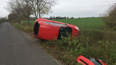 The scene of a crash near Kettleburgh. Picture: ANDREW HIRST