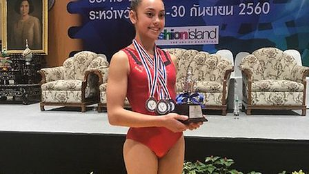 Suffolk gymnast Crystal Watts is the Thailand National Junior Champion 2017. Picture: ANDY WOOD