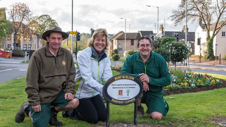 Left to right: Cliff Coulber, from CCG Gardeners, Melanie Lesser, Bury in Bloom coordinator, and And