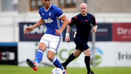Kieffer Moore in action for Ipswich Town. Photo: Inphotography