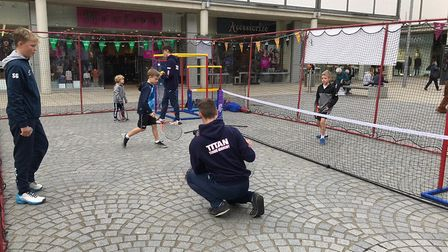 Tennis coaching at Charter Square in the Arc shopping centre. Picture: TITAN TENNIS