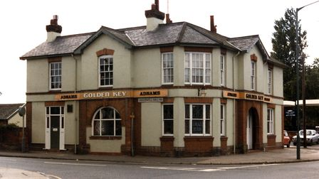 The Golden Key public house at the corner of Woodbridge Road and Cauldwell Hall Road in the 1980s, w