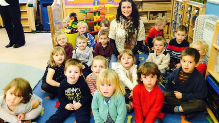 Gracie Wright with children at Brambles nursery school at Reydon Primary School, where she was once