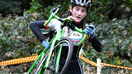 15 year-old Lauren Higham on the way to the outright win in the women's race at Mistley. Picture: JO