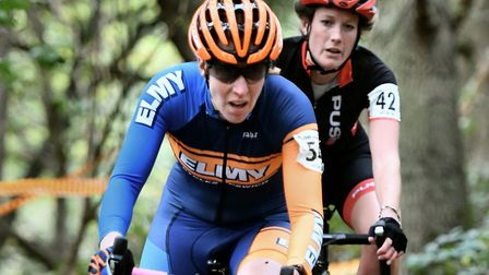Alison Hogg looks for a chance to pass Ipswich rider Jo Newstead at Mistley. Picture: JOHN LLOYD