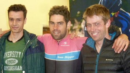 The podium at the UEA Road Race - (L-R) Southwold rider Tom Heal, triathete Joe Skipper and Stephen