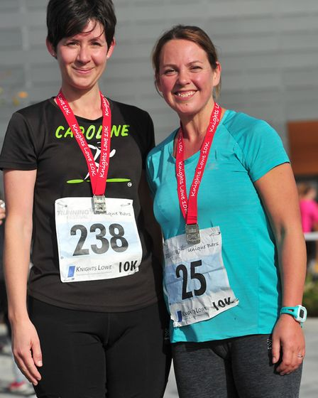 Debbie Wiseman and Caroline Green after the 10k. Picture: SARAH LUCY BROWN