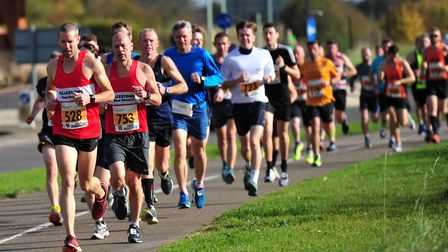 Runners take to the streets in the Bury St Edmunds half marathon. Picture: SARAH LUCY BROWN