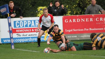 Brendan Mitchell settles it for Bury with a fine late try at Canterbury. Photo: SHAWN PEARCE