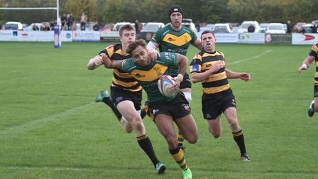 Bury's Conan Osborne goes in the corner for a try as the Wolfpack stage a terrific comeback at Cante