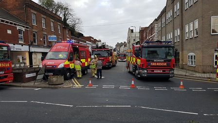 The road has been closed while fire crews work at the scene. Picture: CHRIS MYERS