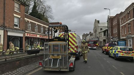 Around 50 firefighters are on scene of the fire in Crouch Street, Colchester. Picture: SARAH LUCY BR