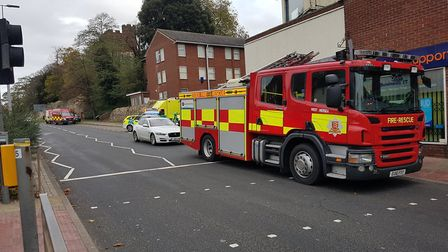 Around 50 firefighters are on scene tackling the blaze in Crouch Street, Colchester. Picture: CHRIS