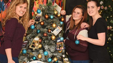 Last year's Stowmarket Christmas Tree Festival. Left to right, Selina Taylor, Chantelle Cracknell an