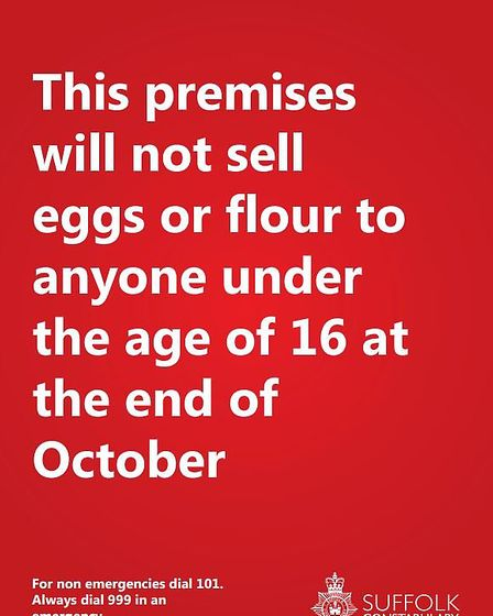 Suffolk police has created this poster for retailers to display over the Halloween period. Picture: