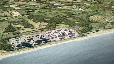 A computer-generated image of how the Sizewell C complex could look after construction, with the exi