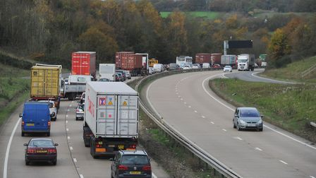 Heavy traffic has been reported on the A14 after a crash. File picture: LUCY TAYLOR