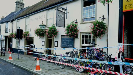 The fire at Cycle King in Bury St Edmunds left the One Bull pub damaged. Picture: ANDY ABBOTT