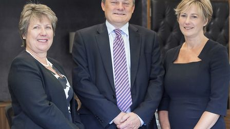 From left, Caroline Fawcett, Simon Lindley and Andrea Hodgson of Cambridge & Counties Bank. Picture: