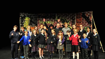 Judges Fred Ellis and Ian Griffiths with the winners of the Woodbridge Young Poets Competition. Pi