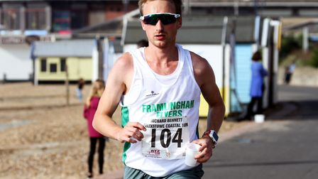 Andrew Rooke, on his way to victory at the Coastal 10, won the first race in the 53-12 Cross Country