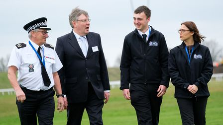 Roger Hirst, Police, Fire and Crime Commissioner for Essex (second left) with ACO Derek Hopkins who