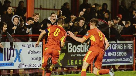 Gareth Heath (left) celebrates his equaliser against Billericay Town with team-mate Jamie Griffiths