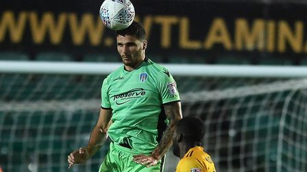 Ryan Inniss is dominant in the air during the U's recent away win at Newport County. Picture: RICHAR