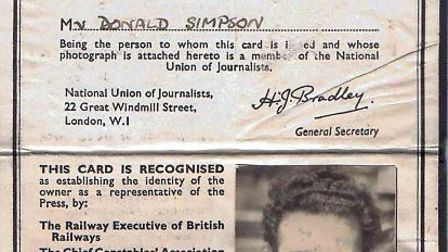 Don Simpson's NUJ card from 1955. Picture: CONTRIBUTED