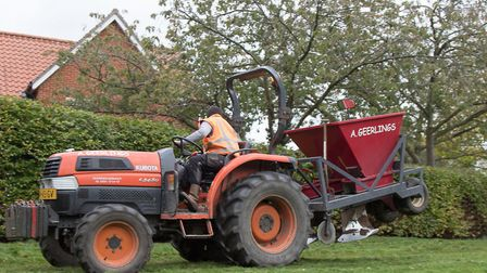 The bulb planting machine in action. Picture: JOSEPHINE SWEETMAN